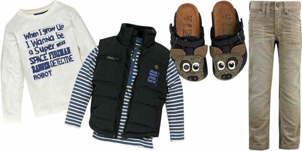 FRA VENSTRE: Genser fra Mexx (kr 99), stripete genser fra KappAhl (kr 79,50), vest fra Name It (kr 230), innetøfler fra Birki's (kr 369), fløyelsbukse fra KappAhl (kr 179).