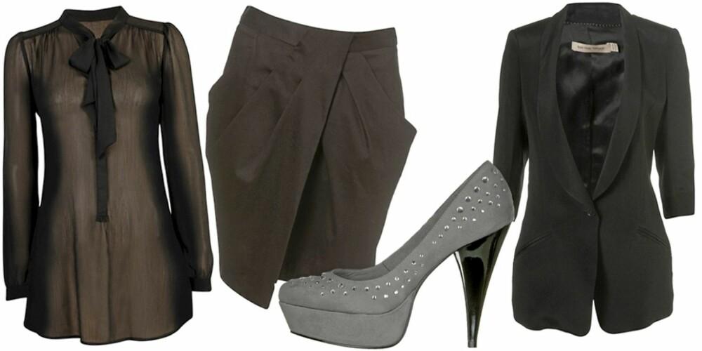 FRA VENSTRE: Bluse fra Cubus (kr 249), skjørt fra Topshop (kr 280), sko fra Din Sko (kr 499), blazer fra Kate Moss Topshop (kr 1165).