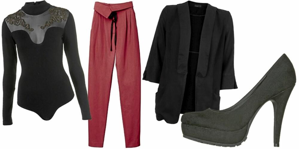 FRA VENSTRE: Body fra Topshop (kr 326), bukse fra HM (kr 399), blazer fra Vila (kr 400), Sko fra Din Sko (kr 399).