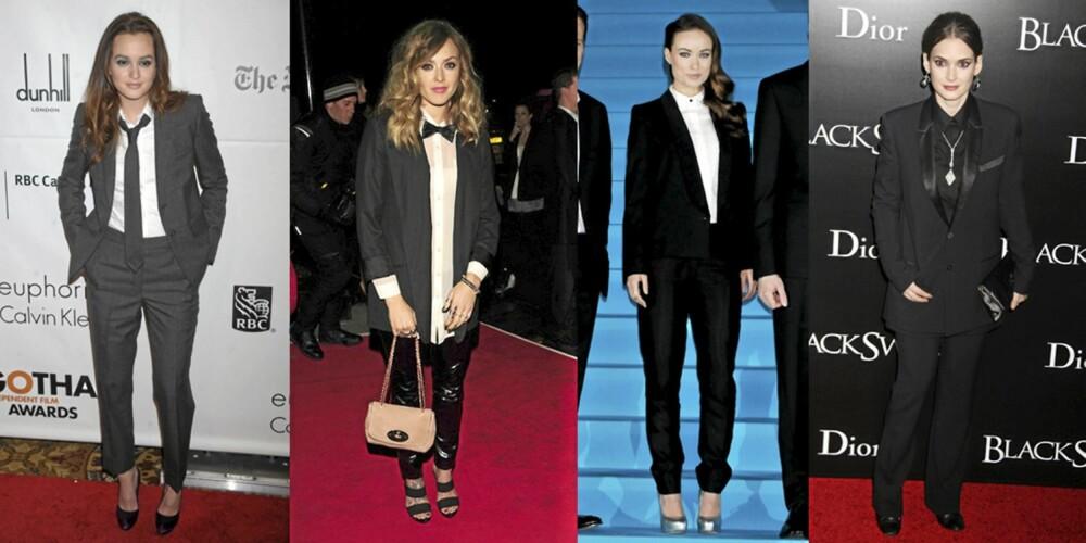 HERREDRESS: Leighton Meester, Fearne Cotton, Olivia Wilde og Winona Ryder er trendy i herredress denne sesongen.