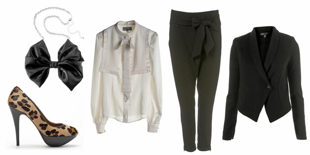 FRA VENSTRE: Leopardpumps fra Zara (kr 959), sløyfesmykke fra H&M (kr 49,50), skjorte fra Weekday (kr 600), bukse fra Topshop (kr 309) og blazer fra Topshop (kr 435).