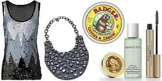 FRA VENSTRE: Paljettopp fra Lindex (kr 249), smykke fra Mango (kr 499), økologisk lipbalm fra Bagder (kr 99), gavesett fra Elizabeth Arden (kr 239).