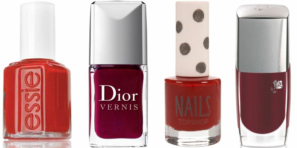 FRA VENSTRE: Essie Silken Chord (kr 145), Dior Vernis nr. 943 Rouge Garconne (kr 215), Topshop Nails Bad Habit (kr 49), Lancôme Le Vernis nr. 107 Rouge Panthère (kr 195).