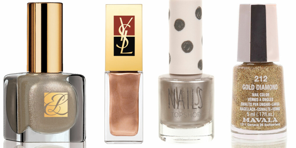 FRA VENSTRE: Estée Lauder Extravagant Pearl (kr 195), YSL La Laque nr. 140 (kr 190), Topshop Nails Silver Bullett (kr 49), Mavlana nr. 212 Gold Diamond (kr 45).