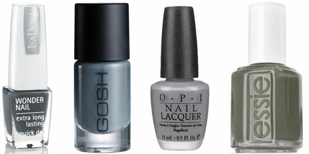 FRA VENSTRE: IsaDora Wonder Nail nr 65 (kr 79), Gosh Miss Grey (kr 79), OPI Nail Lacquer Give Me The Moon! (kr 160), Essie Sew Psyched (kr 149).