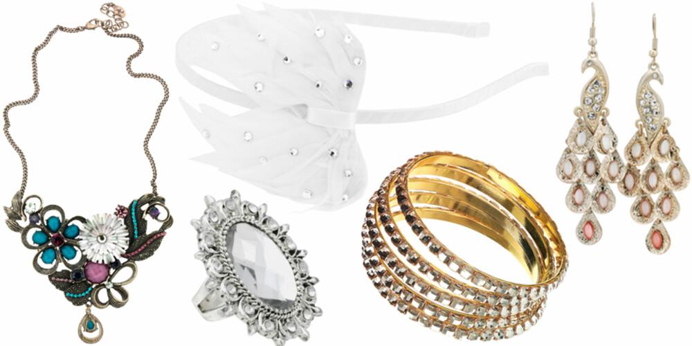 FRA VENSTRE: Kjede fra Accessorize (kr 209), ring fra Gina Tricot (kr 129), hårbøyle fra Cecilie Melli (kr 150), armbånd fra Topshop (kr 125), øredobber fra Accessorize (kr 159).