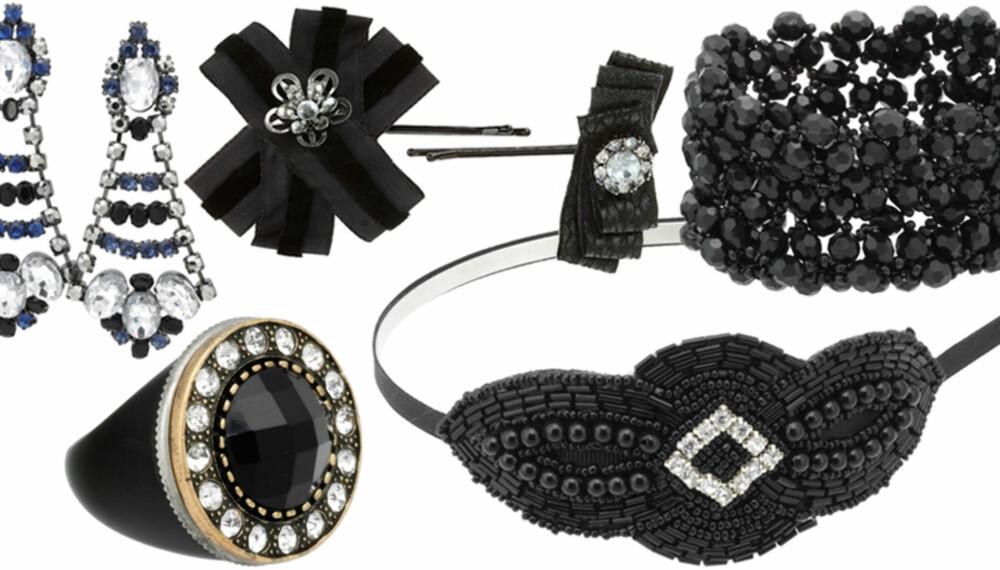 FRA VENSTRE: Øredobber fra Gina Tricot (kr 199), ring fra Bik Bok (kr 49), hårspenner fra Topshop (kr 85), hårbøyle fra Cecilie Melli (kr 150), armbånd fra JC (kr 79).