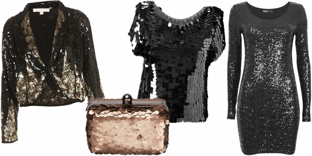 FRA VENSTRE: Topshop (kr 1675), veske fra Next (kr 209), topp fra French Connection (kr 839), kjole fra Cubus (kr 299).
