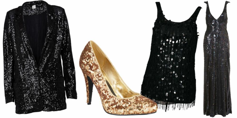 FRA VENSTRE: Blazer fra Object (kr 635), sko fra Next (kr 265), topp fra Only (kr 359), fotsid kjole fra Topshop (kr 3725).