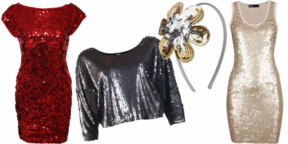 FRA VENSTRE: Kjole fra TFNC (kr 449), topp fra Vero Moda (kr 400), hårbøyle fra Accessorize (kr 75), lang singletkjole fra Cubus (kr 299).