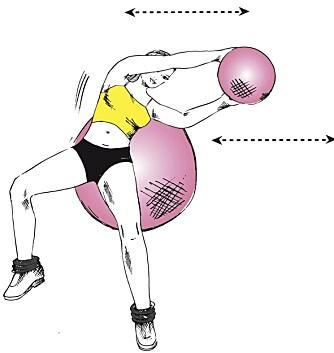 LIGGENDE ROTASJON: Bruk fitnessball.
