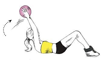 LIGGENDE SITUPS: Bruk medisinball.