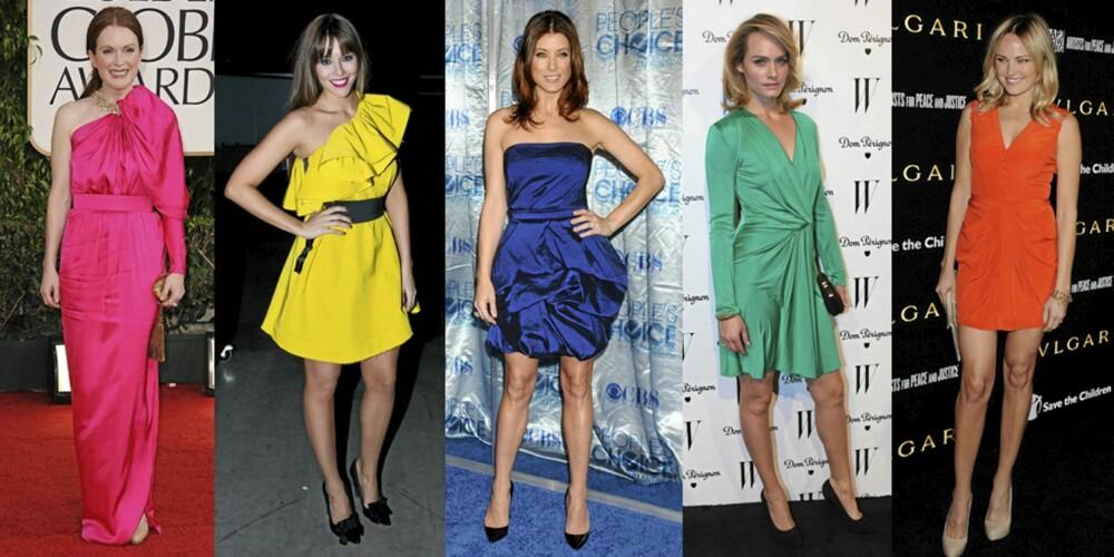 FARGERIK: Julianne Moore, Marion Ravn, Kate Walsh, Amber Valetta og Malin Akerman i knallfargede kjoler.