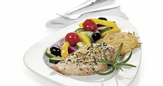 Kylling smaker godt i utallige varianter, her har vi en nydelig sitronkylling med grove grønnsaker.