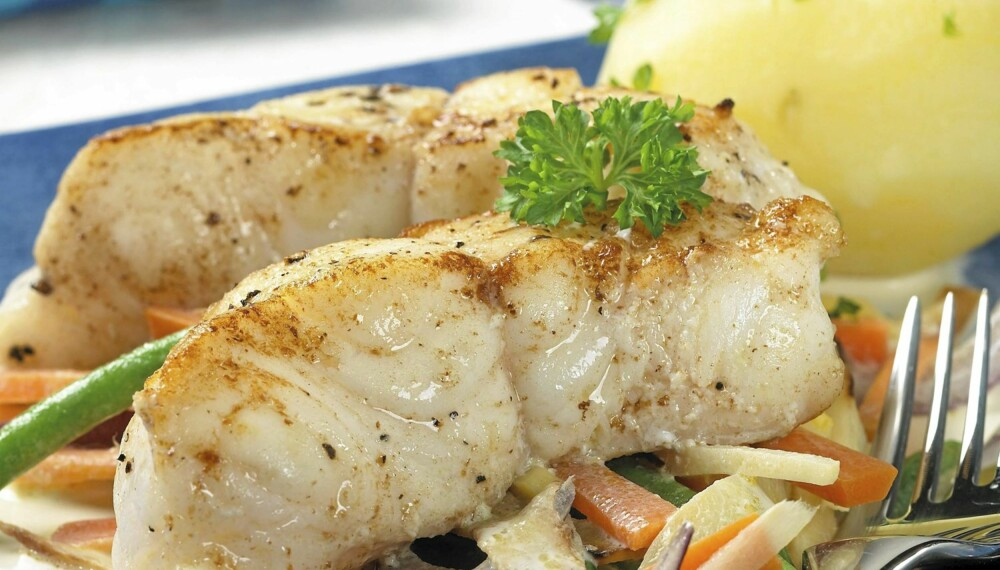 Steinbiten er en fantastisk fisk, her serverer vi den med rotgrønnsaker.
