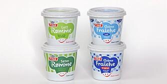 FIRE FETE: Her der de mest fettrike. Både Crème fraîche og Seterrømme innholder 35 prosent fett, mens lettvariantene ikke er så lett som navnet skulle tilsi; begge inneholder 18 prosent fett.