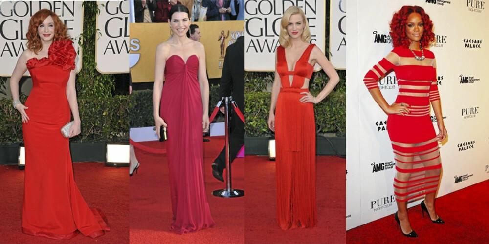 STJERNEFAVORITT: Christina Hendricks, Julianna Margulies, January Jones og Rihanna er alle forførende i rød.