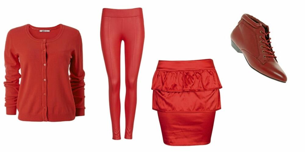 FRA VENSTRE: Cardigan fra Gina Tricot (kr 199), tights fra Bik Bok (kr 199), Skjørt fra Bik Bok (kr 249), sko fra asos (kr 831)