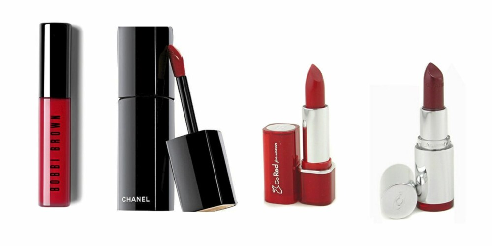 RØD: Bobbi Brown lipgloss (kr 200), Chanel Rouge Allure Laque (kr 280), ELizabeth Arden Go Red (kr 116,50), Clarins Rouge (kr 144,50)