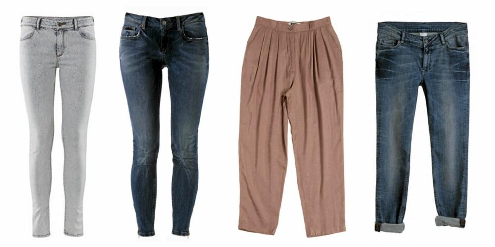 FRA VENSTRE: HogM 8kr 199), Gina Tricot Kristen Jeans (kr 499), Weekday (kr 500) og Monki (kr 400).