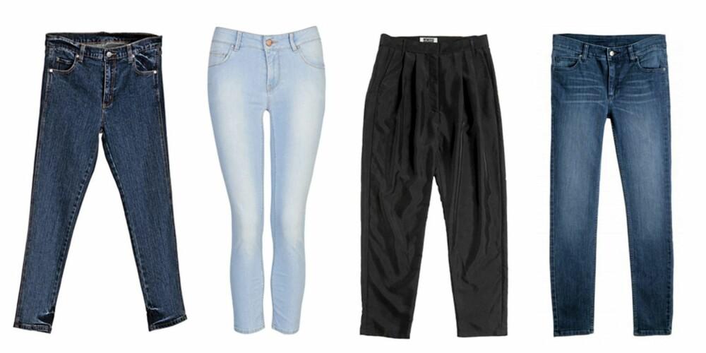 FRA VENSTRE: Cheap Monday Ankle Stretch (kr 400), Bik Bok (kr 499), Weekday (kr 500) og Monki (kr 300).