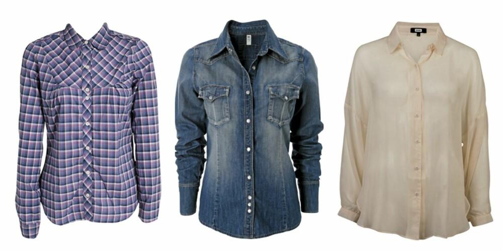 FRA VENSTRE: Skjorte fra Tommy Hilfiger (kr 849), denimskjorte fra Gina Tricot (kr 299) og Bik Bok (kr 299)
