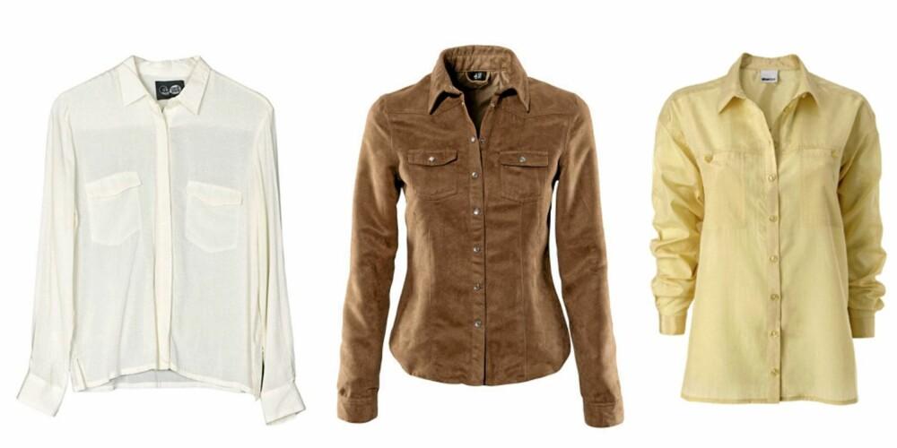 FRA VENSTRE: Skjorte fra Cheap Monday (kr 400), mokkaskjorte fra H&M (kr 149) og gul skjorte fra Gina Tricot (kr 259).