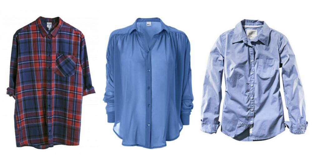FRA VENSTRE: Skjorte fra Monki (kr 300), skjorte fra Gina Tricot (kr 249) og skjorte fra H&M ( kr 199).