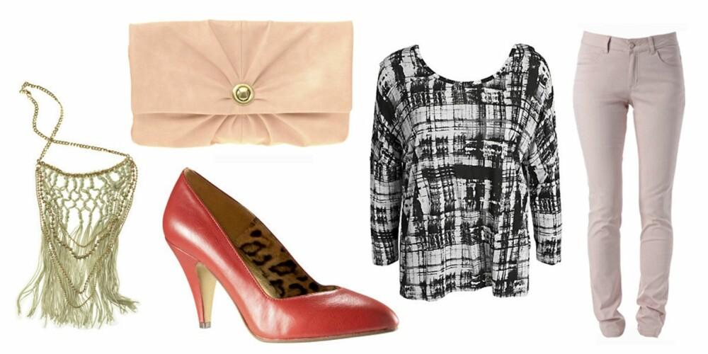 FRA VENSTRE: Smykke fra H&M (kr 99), veske fra Asos.com (kr 156), pumps fra H&M (kr 199), topp fra Vila (kr 179) og bukser fra Gina Tricot (kr 199).