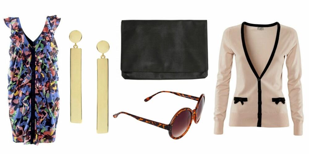 FRA VENSTRE: Kjole fra H&M (kr 199), øredobber fra Asos.com (kr 104), veske fra Monki (kr 180), solbriller fra Bik Bok (kr 69) og cardigan fra H&M (kr 199).