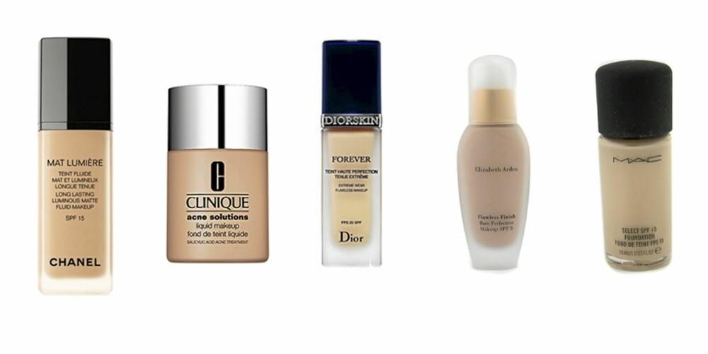 TRADISJONELL: Chanel Long Lasting (kr 400), Clinique Acne Solutions (kr 169), Dior Forever (kr 410), Elizabeth Arden Flawless Finish (kr 200), MAC Select (kr 200).