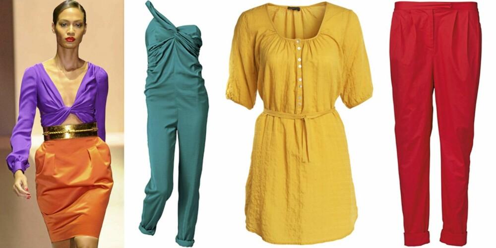 FARGESTERK: På catwalken til Gucci, buksedress fra H&M (kr 499), tunika fra Lindex (kr 249), bukse fra Vero Moda (kr 400).