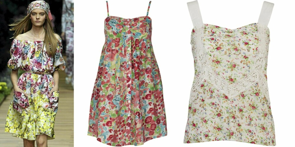 BLOMSTER: På catwalken til D&G, kjole fra Cubus (kr 149), topp fra Bik Bok (kr 199).
