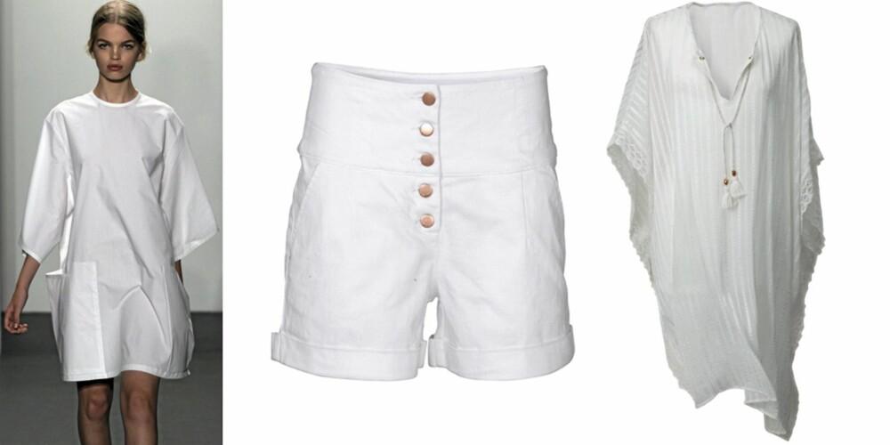 HVITT: På catwalken til Calvin Klein, shorts fra Vila (kr 350), poncho fra H&M (kr 299).