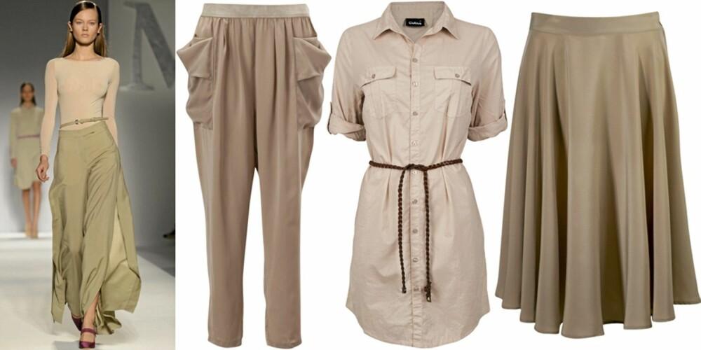 NUDE: På catwalken til Max Mara, bukse fra Gina Tricot (kr 299), skjorte fra Cubus (kr 299), skjørt fra Gina Tricot (kr 349).