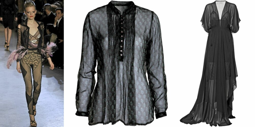 TRANSPARENT: På catwalken til Zac Pose, bluse fra Indiska (kr 299), kjole fra by Malene Birger (kr 4399).