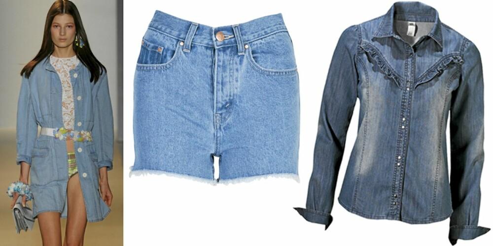 DENIM: På catwalken til Vanessa Bruno, shorts fra Bik Bok (kr 299), skjorte fra Gina Tricot (kr 299).