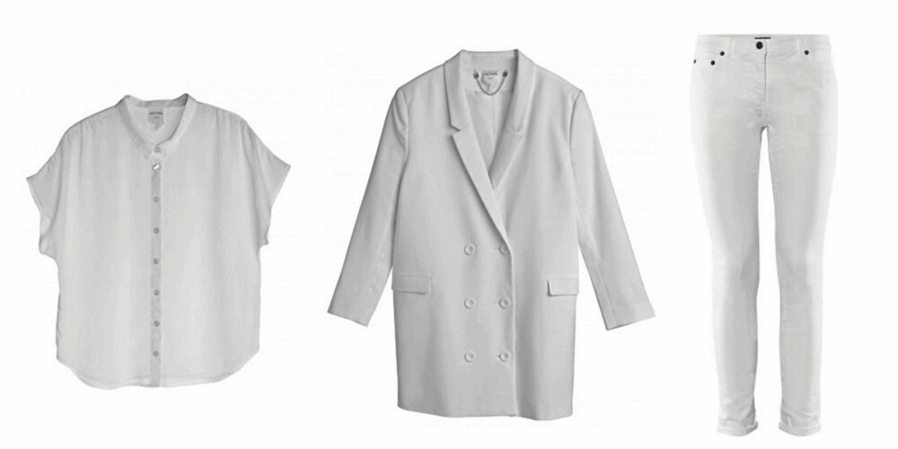 FRA VENSTRE: Topp fra Monki (kr 199), blazer fra Monki (kr 450), bukser fra H&M (kr 199).