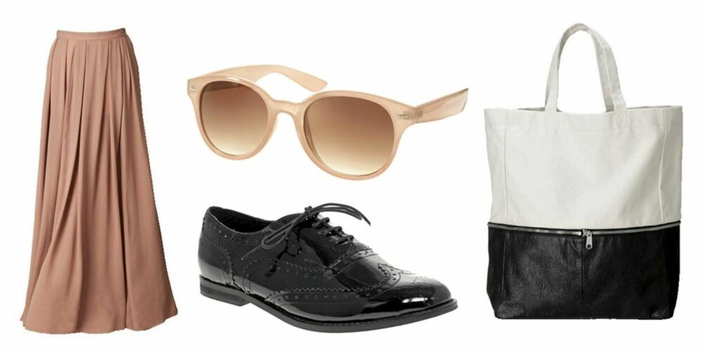 FRA VENSTRE; Maxiskjørt fra HogM (kr 399), solbriler fra Asos.com (kr 125), sko fra Asos.com (kr 365) og veske fra HogM (kr 399).