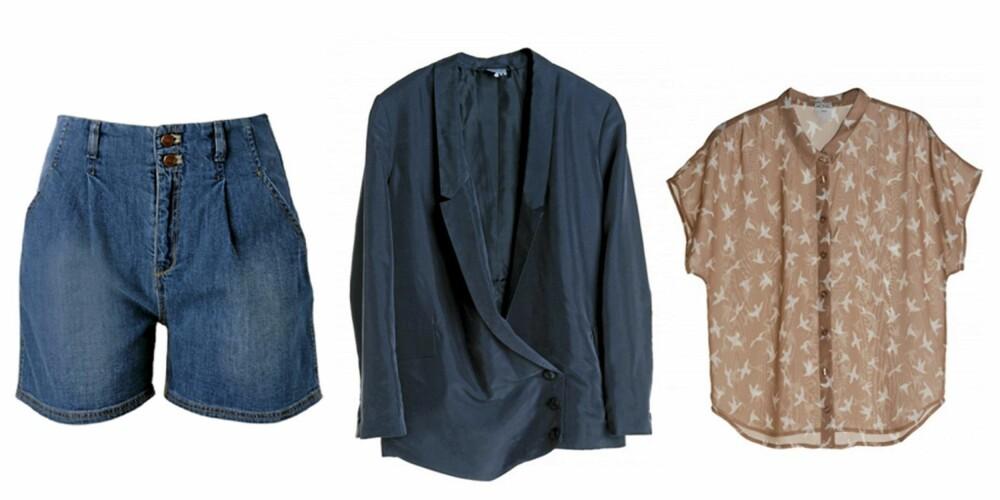 FRA VENSTRE: Shorts fra GIna Tricot (kr 399), blazer fra Monki (kr 500) og topp fra Monki (kr 300).
