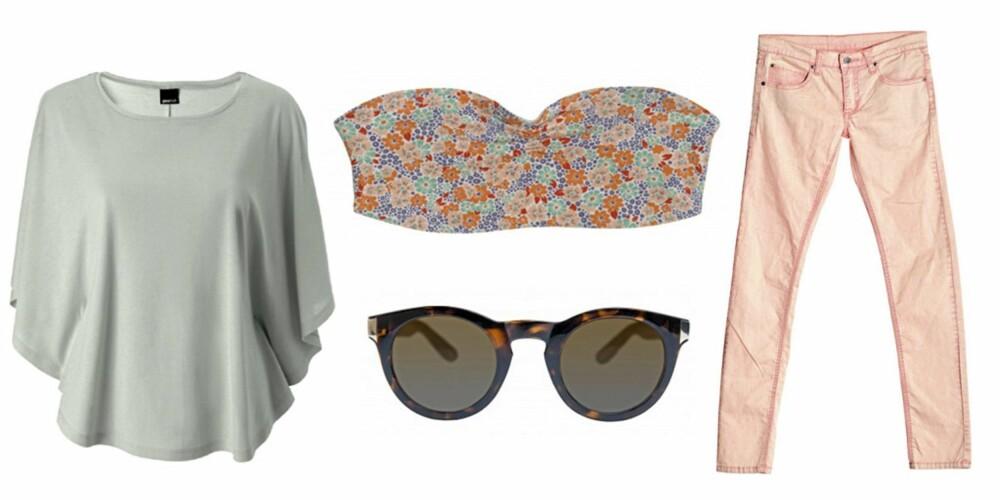 FRA VENSTRE: Topp fra Gina Tricot (kr 149), bustier fra Monki (kr 80), solbriller fra Monki (kr 100) og bukser fra Cheap Monday (kr 400)