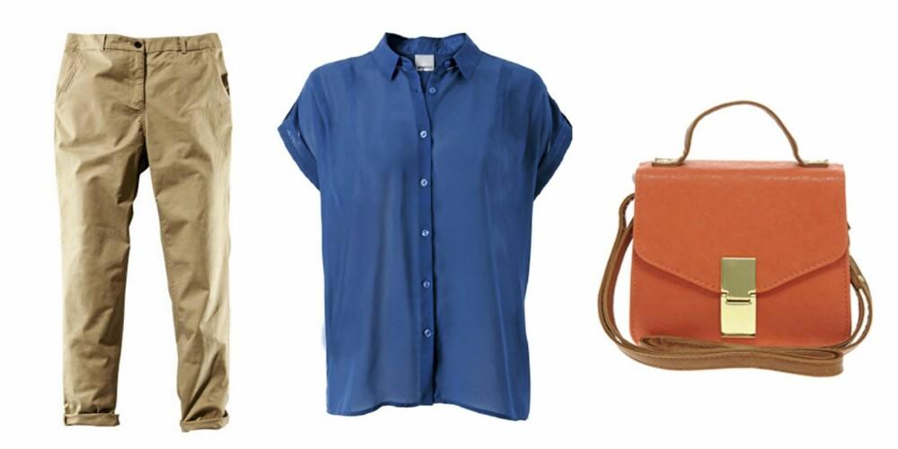 FRA VENSTRE: Chinos fra HogM (kr 99), skjorte fra Gina Tricot (kr 199) og veske fra Asos.com (kr 156)