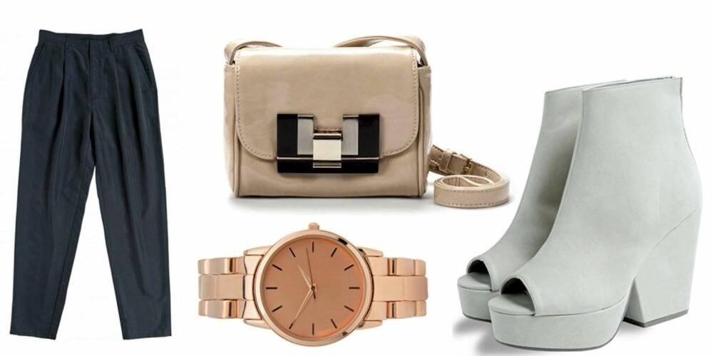 FRA VENSTRE: Bukse fra Monki (kr 400), veske fra Zara (kr 299), klokke fra Asos (kr 312) og sko fra Weekday (kr 500).