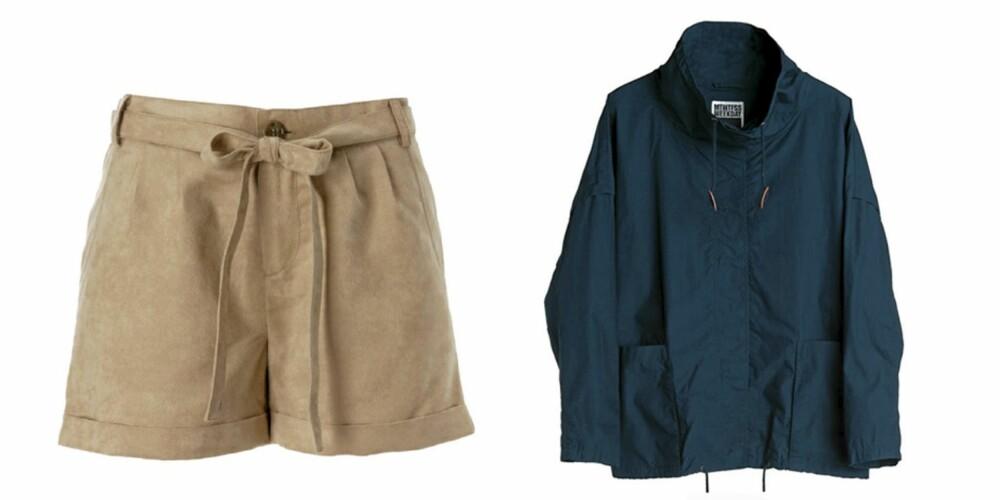 FRA VENSTRE: Shorts fra Gina Tricot (kr 249), jakke fra Weekday (kr 500).