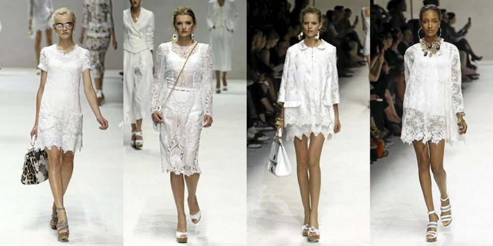 HVITE BLONDER: Dolce & Gabbana viste hvite blondekjoler i mange varianter i sin vår/sommer kolleksjon.