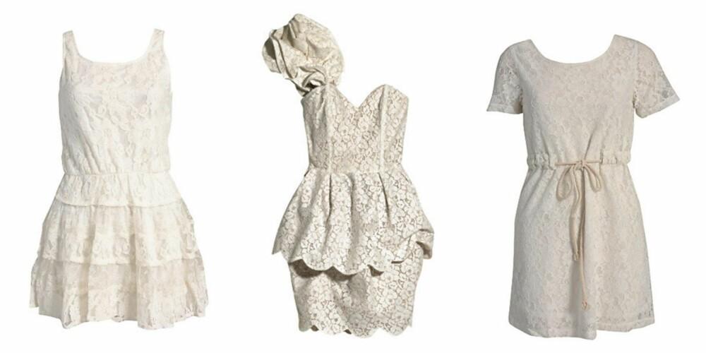 FRA VENSTRE: Kjole fra Angeleye (kr 449/Nelly.com), kjole fra H&M (kr 499) og kjole fra Dry Lake (kr 599/Nelly.com)