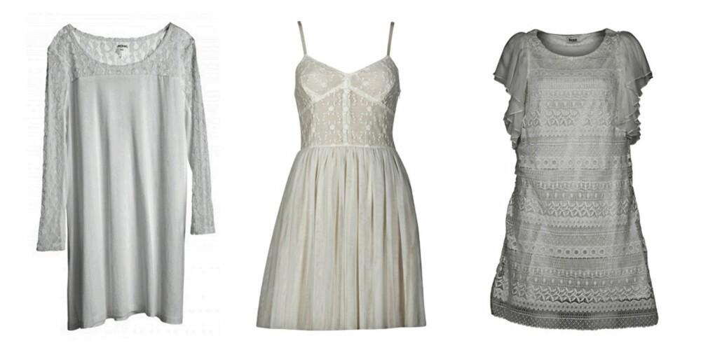 FRA VENSTRE: Kjole fra Monki (kr 300), kjole fra Cubus (kr 299) og kjole fra Vila (kr 800).
