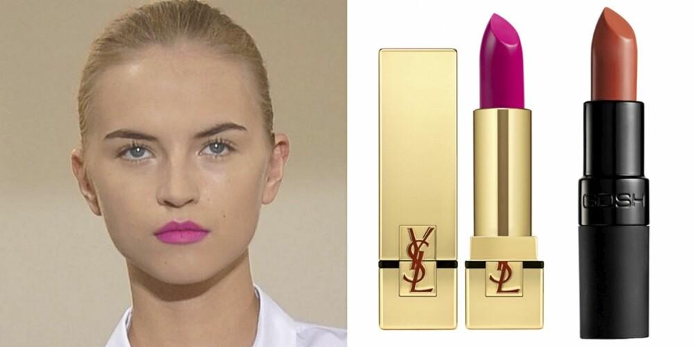 FRA VENSTRE: På catwalken til Jil Sander, YSL Rouge Pur Couture Nr. 7 Le Fuchsia (kr  280), Gosh Velvet Touch Lipstick (kr 85).