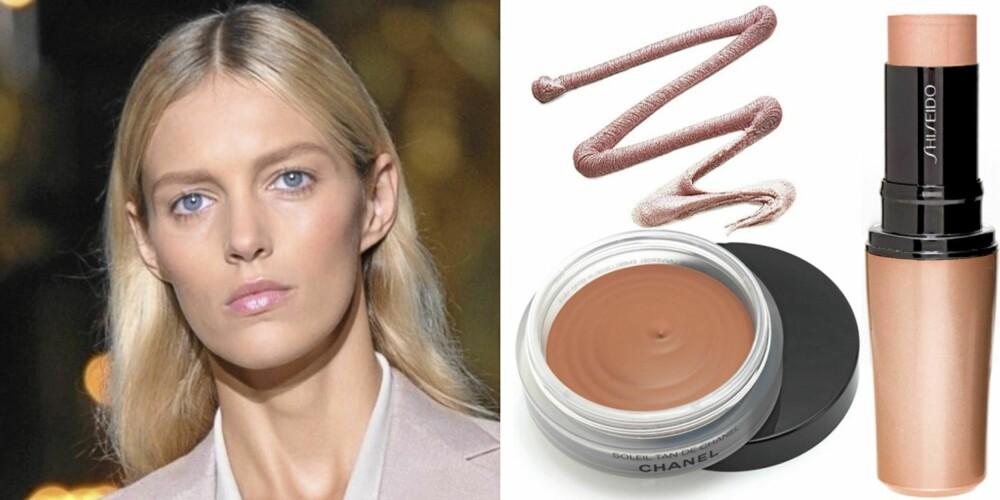 FRA VENSTRE: På catwalken til Stella McCartney, Chanel Soleil Tan de Chanel Bronzing Make-up Base (kr 370), e.l.f. Shimmering Facial Whip i fargen Citrus (kr 16), Shiseido Accenturating Color Stick nr. S3 (kr 310).
