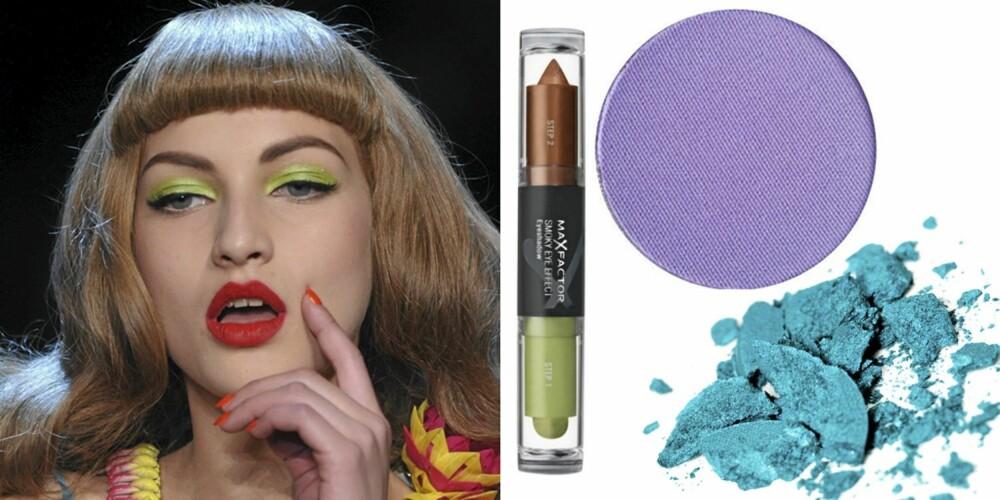 FRA VENSTRE: På catwalken til Dior, Max Factor Smokey Eye Effects Eyeshadow (kr 145), Make Up Store Microshadow i fargen lavender (kr 140), Lancôme Ombre Absolue Mono Eyeshadow nr. B30 (kr 230).